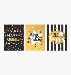 beautiful birthday invitation card design gold vector image