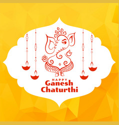 Beautiful greeting design lord ganesha festival vector