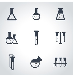 black chemistry icon set vector image