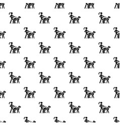 blind girl dog guide pattern seamless vector image