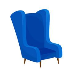 Blue armchair with high back vector
