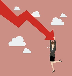 Business woman try hard to hold on falling graph vector image