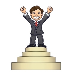 Businessman is standing on pedestal 2 vector