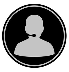 call center black coin vector image
