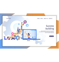 Career success building teamwork conceptual ladder vector