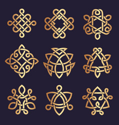 celtic knots stylized triangle symbols ancient vector image