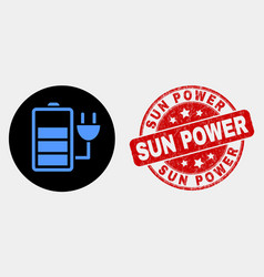 charge battery icon and distress sun power vector image