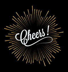 Cheers lettering golden light design background vector