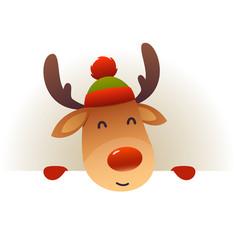 christmas cute reindeer standing behind blank vector image