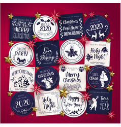Christmas typography tag cards vector