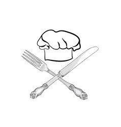 Cook hat with fork knife catering outdoor label vector