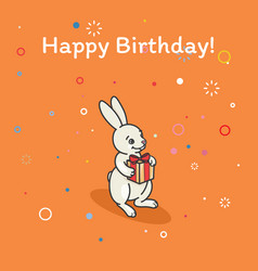 cute bunny is holding a gift vector image