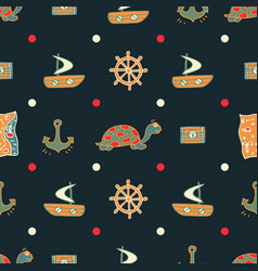 Dark blue seamless pattern with turtles vector