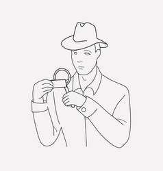 detective icon line element vector image