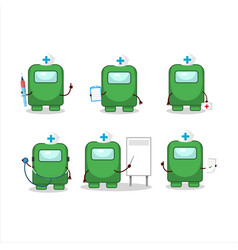 Doctor profession emoticon with among us green vector