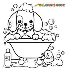 dog in a tub taking a bath vector image