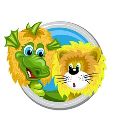 Dragon leo zodiac sign vector
