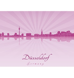 Dusseldorf skyline in purple radiant orchid vector image