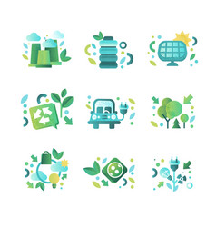eco related symbols set ecology cocept vector image