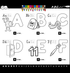 educational alphabet letters color book for kids vector image