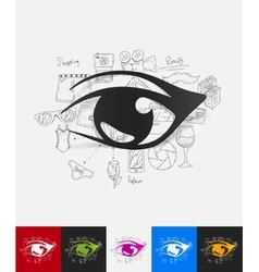 eye paper sticker with hand drawn elements vector image