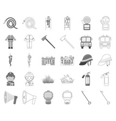 Fire department monochromeoutline icons in set vector