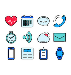 fitness icons tracker technology data vector image