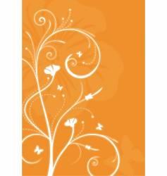 Floral orange background with swirls vector