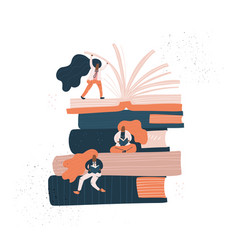 girld sitting on books vector image