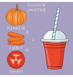 Glass with pumpkin smoothie Natural bio drink vector