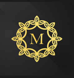 Gold floral monogram design template lineart logo vector