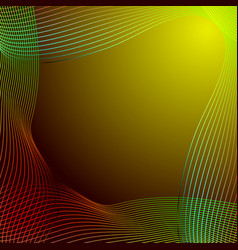 greeting card of red and green lines on a yellow vector image