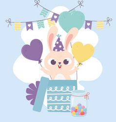 happy day rabbit with hat coming out gift box vector image