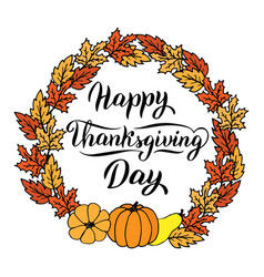 Happy thanksgiving day text card in a frame with vector