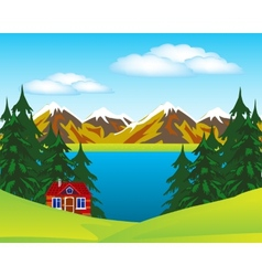 House beside lake vector