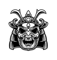 Japanese samurai mask and helmet design element vector