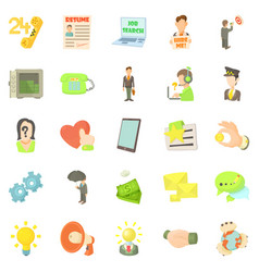 Job contract icons set cartoon style vector