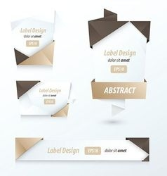 Label Ribbon Origami 2 color brown vector