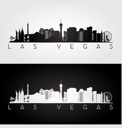 las vegas usa skyline and landmarks silhouette vector image
