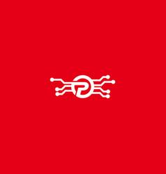 Letter p tech logo icon design template vector