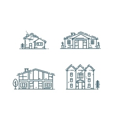 Line houses icon set vector