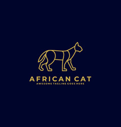 logo african cat line art style vector image
