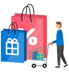 man shopping for a good gifts for holidays the vector image
