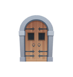 Medieval cartoon gate or door fairytale entry vector