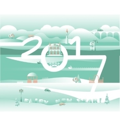 merry xmas and happy new year greeting design vector image