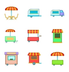 Mobile shop for street icons set cartoon style vector