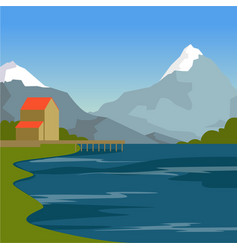mountain river house and mountains summer vector image