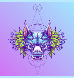 Muzzle of a wolf is an for creating sketches of vector