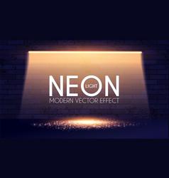 Neon shining lamp brick wall and magic reflection vector