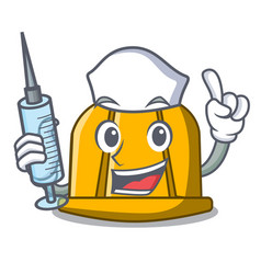 Nurse construction helmet character cartoon vector